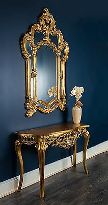 Mirror Console French Dressing Table Hall Table Black Gold Wall Antique Style