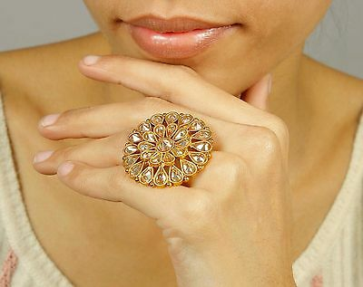 RN-729 Ethnic Bollywood Indian Adjustable Rings Bollywood Party Wear Jewelry
