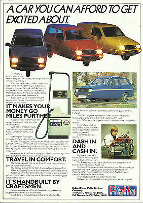 RELIANT RIALTO 2 DOOR 3 DOOR STD GLS VAN original circa 1982 UK leaflet brochure