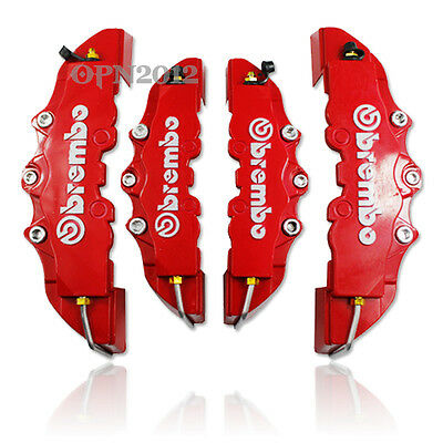 2Pair Universal Auto Front & Rear Disc Brake Style Caliper Covers Brembo 3D RED
