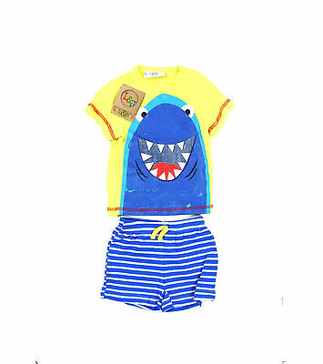 Lily & Jack Baby Boys 2 Piece Outfit Set Shark T-Shirt Striped Shorts 6-24 Month