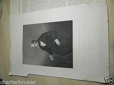c.1865 engraving print by D.J Pound of (late) Prime Minister Viscount Palmerston