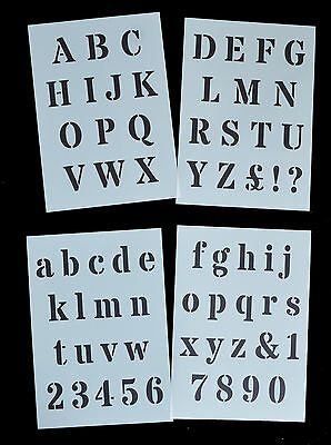 ALPHABET / LETTERS Stencil ROMAN Style on 4 x A4 Sheets 40mm CAP HEIGHT Alpha 1