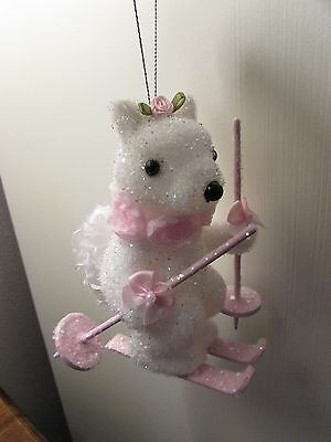 SHABBY CHIC VICTORIAN Squirrel Skier PINK CHRISTMAS VILLAGE ORNAMENT Roses