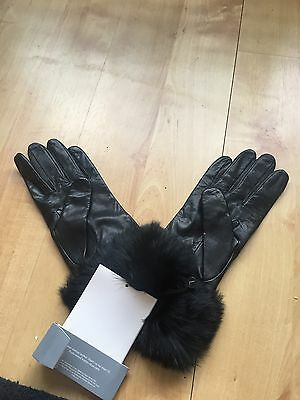 Premium Leather Gloves With Fur Top