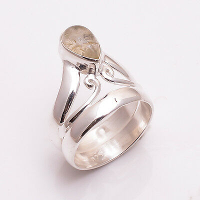 925 Solid Sterling Silver Ring Size UK Q, Natural Golden Rutile Jewelry CR2508