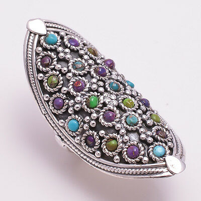 925 Solid Sterling Silver Ring, Turquoise Gemstone Handmade Jewelry R1466