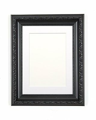 Ornate Shabby Chic Picture, Photo Frame Poster Frame with Bespoke Mount Black