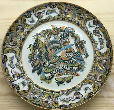 Finely Decorated Antique Chinese Porcelain Famille Rose Butterfly Plate