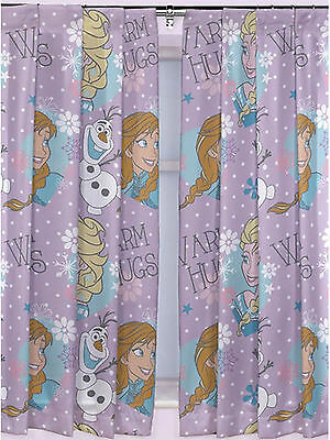 "Frozen Curtains 72"" Purple Elsa Ana Olaf Curtain Kids Bedroom"
