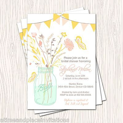 mason jar of flower butterfly bridal wedding or baby shower party invitation