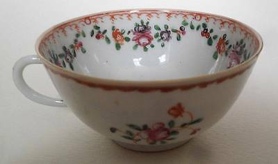Antique Chinese Export Porcelain Miniature Famille Rose Handled Tea Cup Bowl