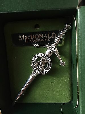 NEW Scottish Clan Crested Pewter Kilt Pin: MacDonald of Clanranald