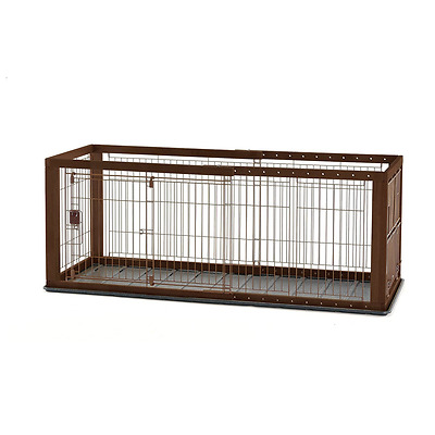 Richell Expandable Pet Crate with Floor Tray, Small, Dark Brown