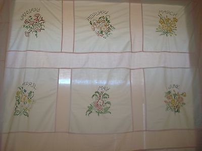 ANTIQUE FRENCH Summer Coverlet/Bedspread~MONTHS OF THE YEAR~12 FLORAL BOUQUETS!!