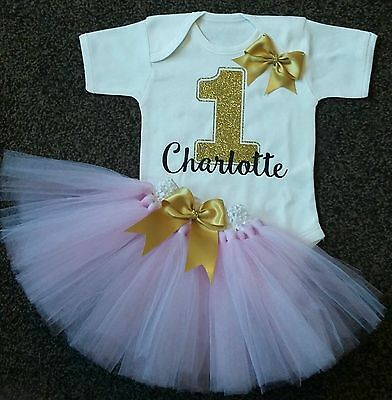 Baby girl first 1st birthday tutu outfit bling cake smash handmade one pink gold