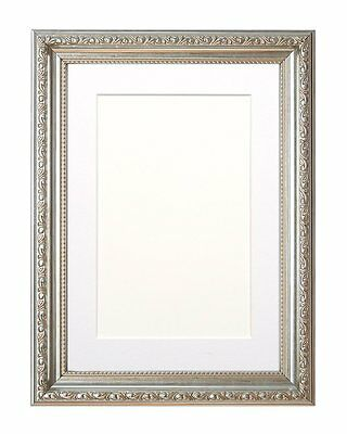 Ornate Swept Picture Frame Photo Frame Poster Frame with Bespoke Mount  Silver