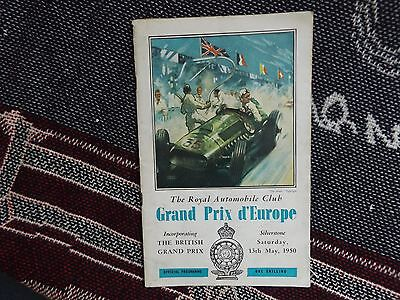 1950 Silverstone British Grand Prix Europe Programme - Loose Centre Page