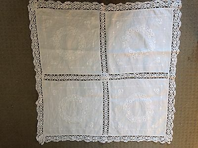 "Antique Vintage Lace Edged Table Cloth Embroidered 25"" x 25"" Square"