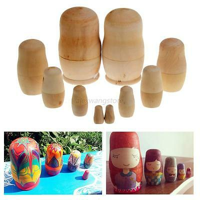 5PCS Wooden Blank Dolls Matryoshka Russian Nesting Doll Unpainted Kids Toy Gift