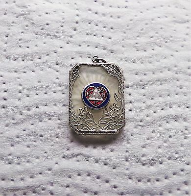 Vintage Loyal Order of The Moose FHC Heart Enamel Pendant FOB or Charm