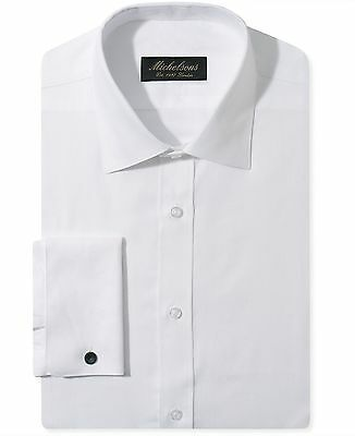 NWT $275 MICHELSONS Men SLIM-FIT WHITE FRENCH-CUFF TEXTURED DRESS SHIRT 15 32/33