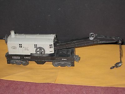 1945- Lionel 6560 Crane. Gray Cab. 4 wheel trucks. Open spoke wheels C-6 no box