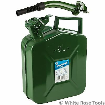 Silverline 5 Litre Metal Jerry Can & 320mm Spout Fuel Petrol Diesel Gas Water