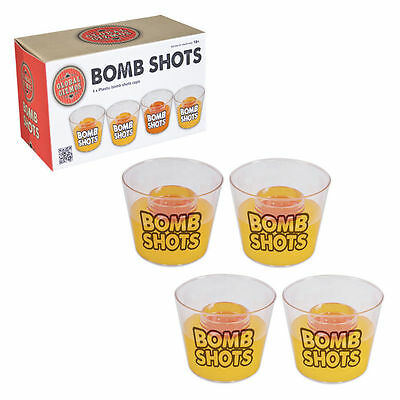 Bomb Shots / Pack Of 4 Plastic Drinking Shot Cups Perfect For Jager Bombs 18+