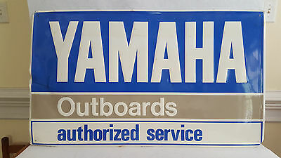 """Service Shop Embossed Metal YAMAHA Outboard Service Advertsing Sign 36"""" x 21"""""""