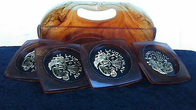 Vintage Brown Lucite Carrying Case & A Nice Set of 4 Coasters 1960's Home Decor
