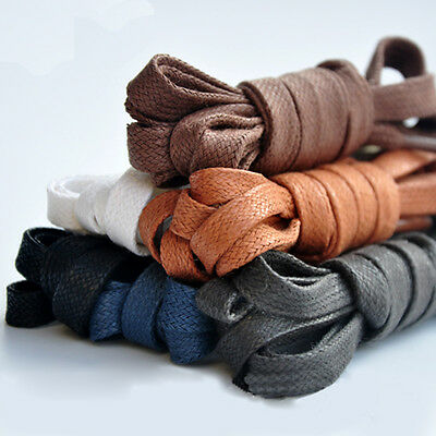 Flat Waxed Cotton Shoe Laces Dress Shoelace Coloured leather Bootlace 8mm Wide
