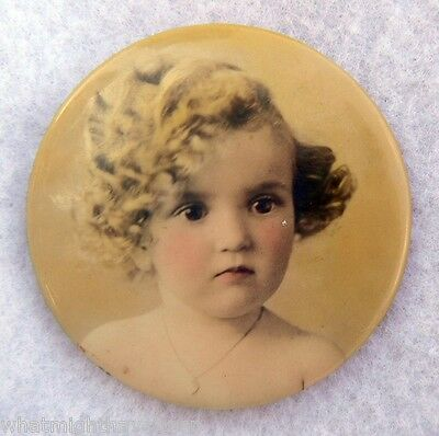Antique Blushing Beauty Celluloid Pocket Mirror