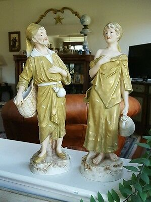 Royal Dux Bohemia Figurines, Old World Woman & Man. Mint! Height 13 in