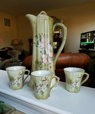 Nippon hand painted chocolate  pot, 3 cups. Green and pink floral.