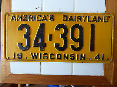 1941 Wisconsin License plate #34-391........233g