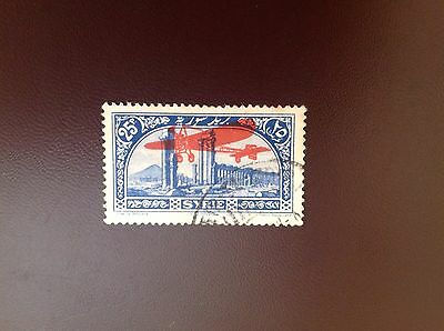 Syria 1929 25p Blue Air Overprint in Red SG229 Used