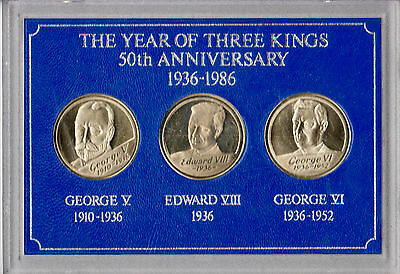 The Year of the Three Kings 50th Anniversary three medallion set in case
