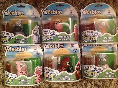 Weebledown Farm Weebles Figures all 6 Cow, Sheep. Pig, Dog, Chicken, Horse