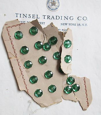 """1 doz Vintage Antique Green Glass Octagonal Buttons 7/16"""" Unused  Doll Costume"""