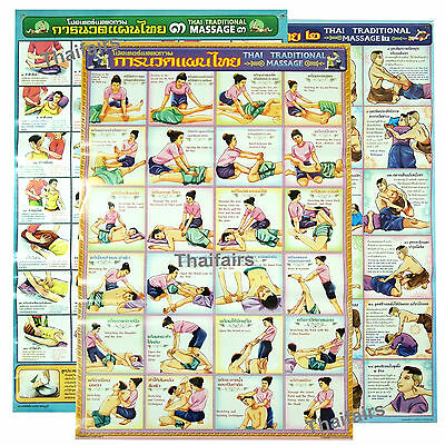 Thai Tradition Massage Body Poster Set Teaching Relax Spa Reflexive Sketch Chart