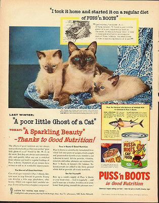 1952 Vintage ad for Puss'n Boots Cat Food~Siamese Cats~Blue Eyes (100213)