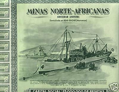 HUGE MINT 1956 MOROCCO SPAIN MINING BOND! SHIP/TRUCKS/AREA MAP/ALL COUPS cv $250