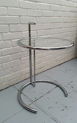 Eileen Gray reproduction glass side table, vintage, retro 1930s