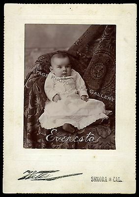 Antique Cabinet Card Photo ID'd Baby Girl Everesta Faxon Sonora California CA