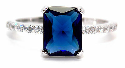 Sterling Silver Blue Sapphire And Diamond 2.95ct Ring (925) Size 7 (N)