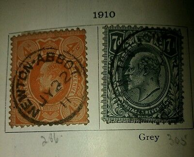 Great Britain 1910-1924 King George V  selection of used stamps in old SG Album.