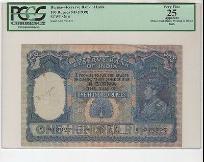 PCGS 25 Burma 100 Rupees 1939 Reserve Bank of India P-6 Very Fine Grade Banknote