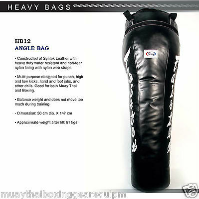 Fairtex Muay Thai Kick Boxing K1 MMA Leather Angle Heavy Bag HB12 UnFilled