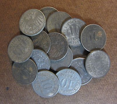 x16 Original WWI German Empire 10 Pfennig Coins 1917s